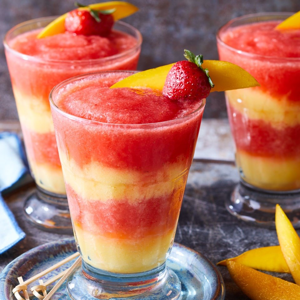 Virgin Layered Strawberry-Mango Margaritas