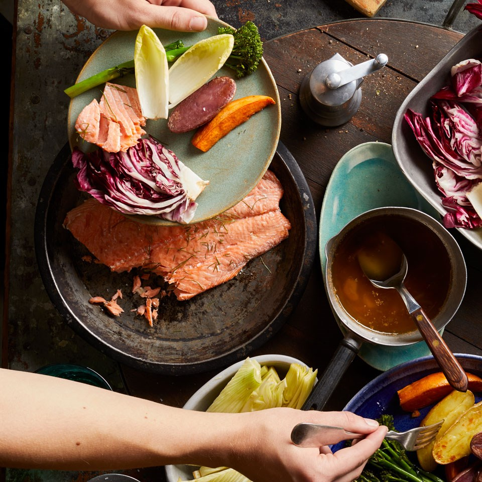 Salmon & Fall Vegetables with Bagna Cauda Recipe - EatingWell
