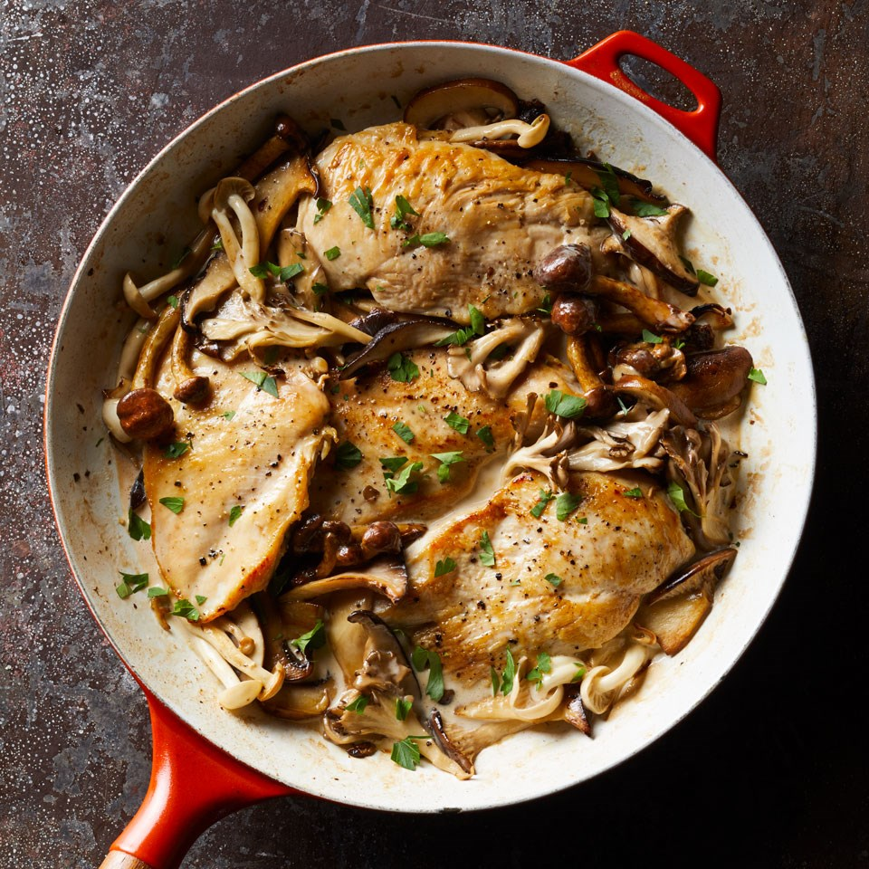 7 day meal plan easy 5 ingredient dinners eatingwell creamy chicken mushrooms this healthy creamy chicken recipe is delicious with any combination of mushrooms serve this dish over whole wheat egg noodles forumfinder Image collections