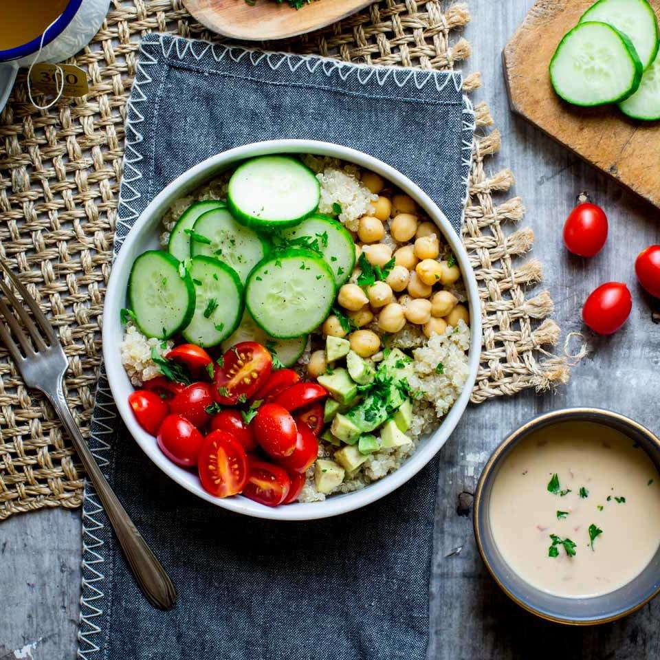 cucumber chickpea bowl