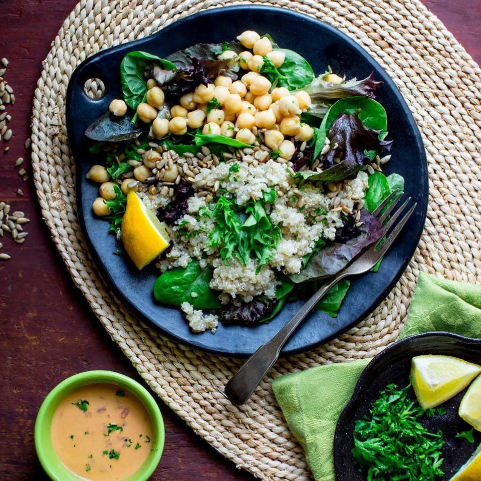 Quinoa Chickpea Salad with Roasted Red Pepper Hummus Dressing