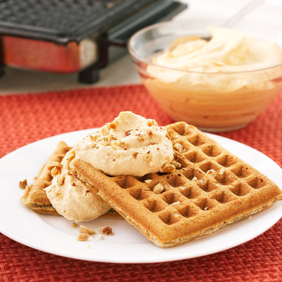Spiced Waffles with Pumpkin Cream