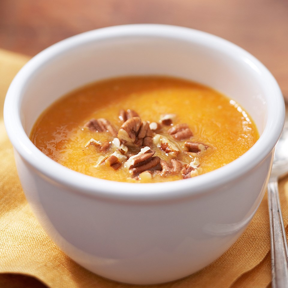 Sweet Potato Soup with Toasted Pecans