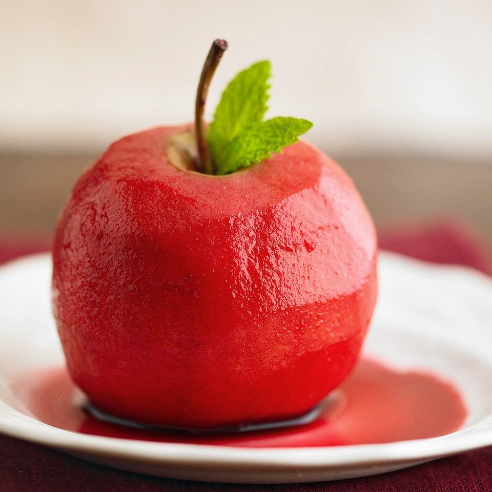 Cherry-Wine Poached Apples