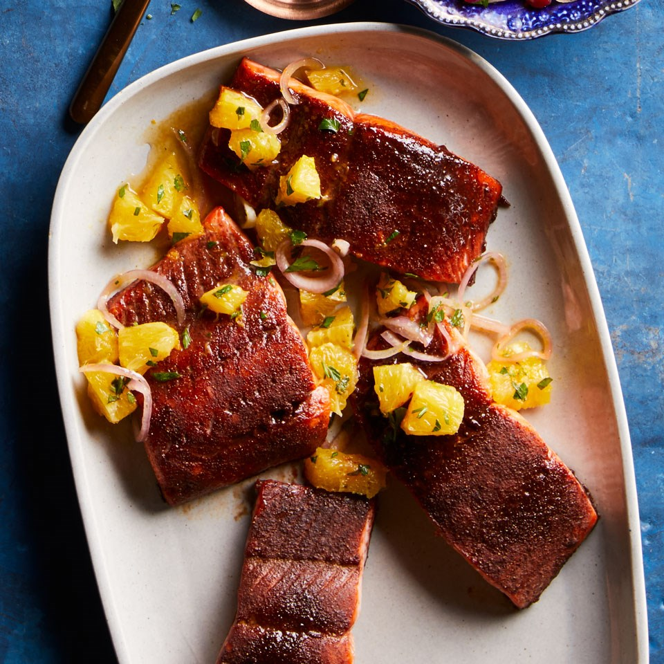 Cocoa-Rubbed Salmon with Orange Salsa