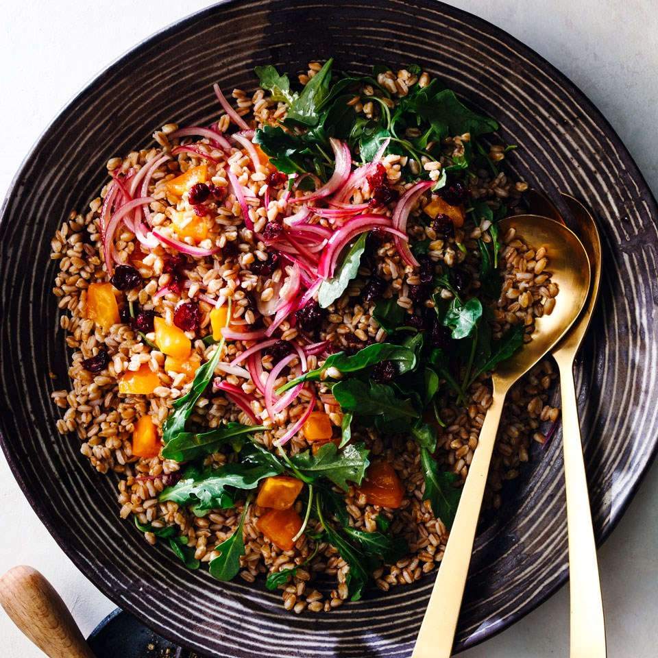 Farro Salad with Cranberries and Persimmons