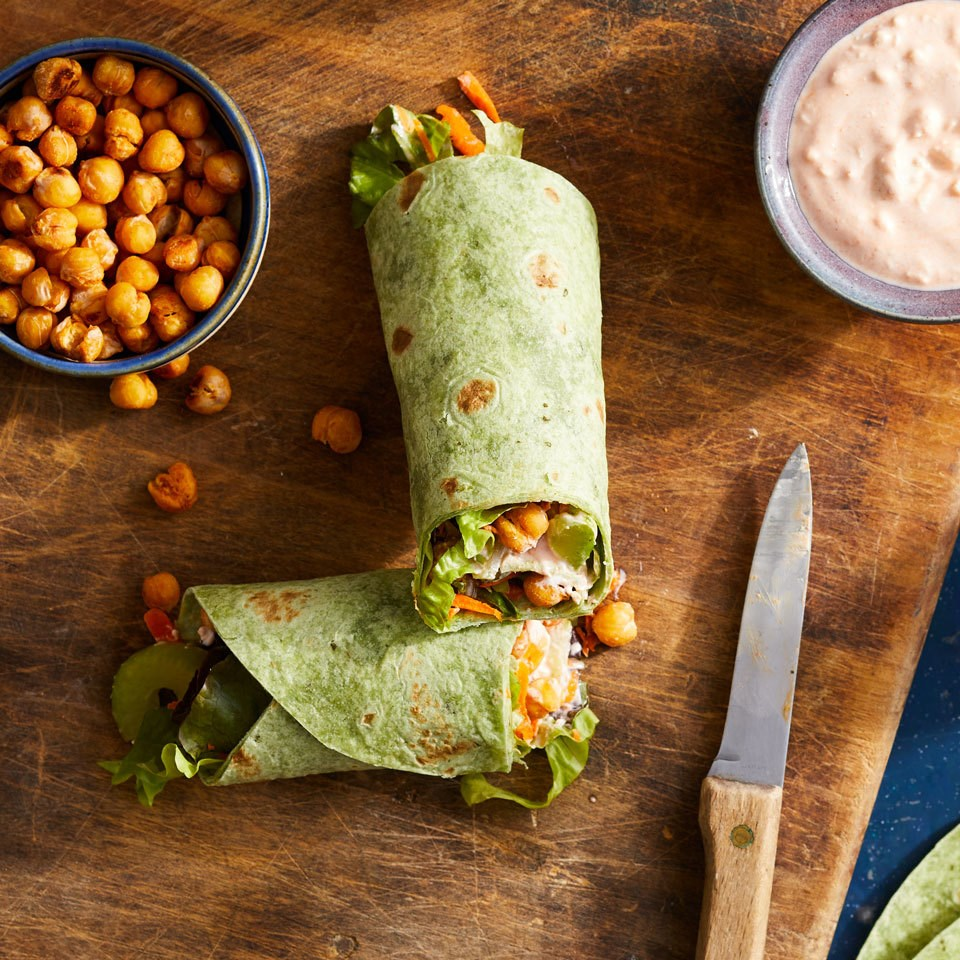 Roasted Buffalo Chickpea Wraps