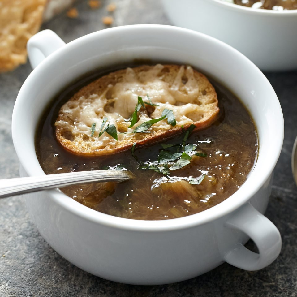 Six-Onion Soup with Parmesan Croutes