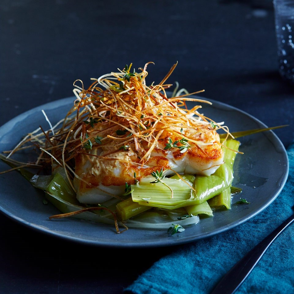 Coriander-Crusted Baked Cod with Leeks