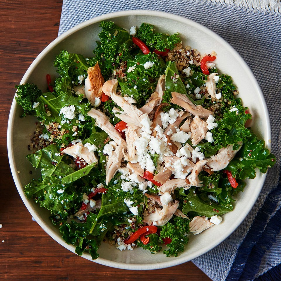 Greek Kale Salad with Quinoa and Chicken