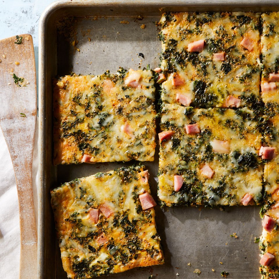 Sheet-Pan Eggs with Spinach & Ham