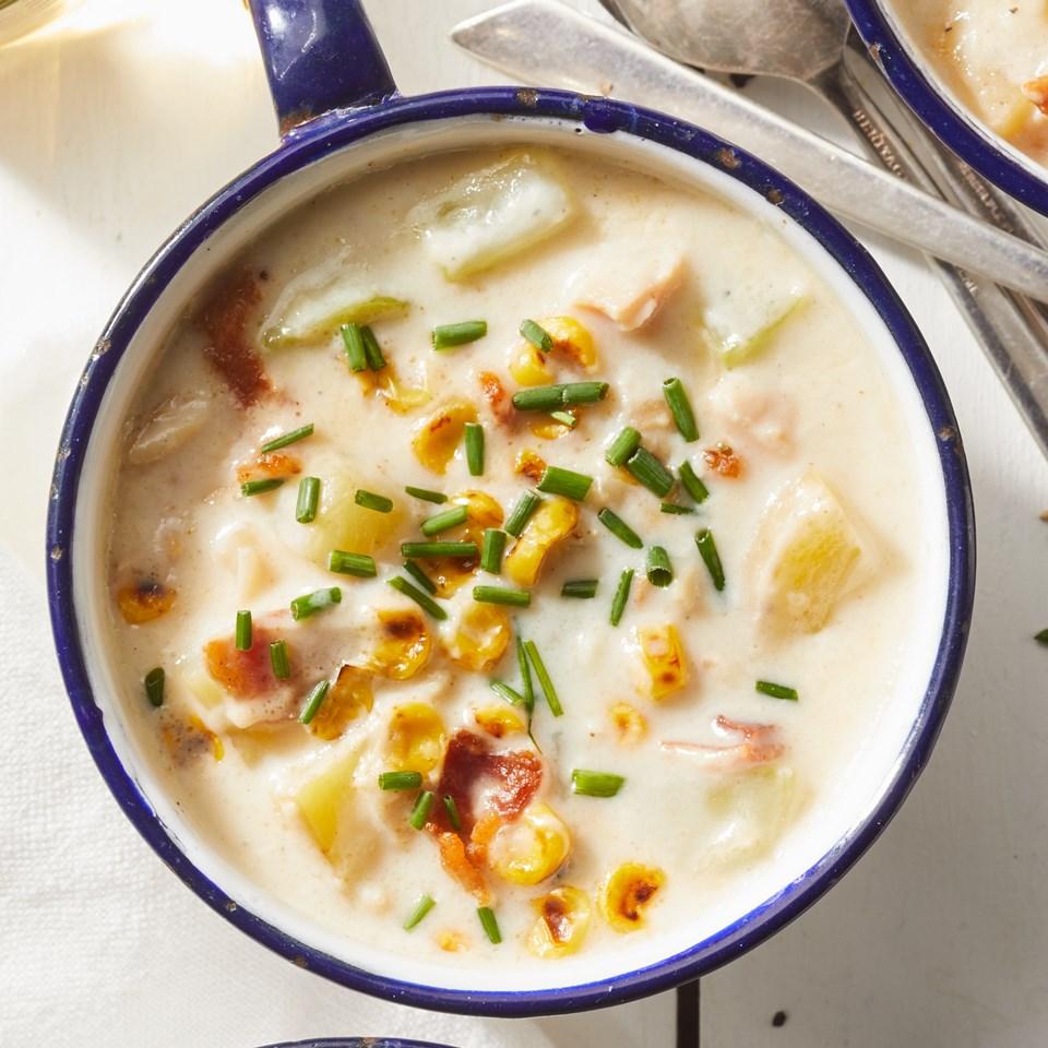 Clam Chowder with Broccoli Stems & Corn