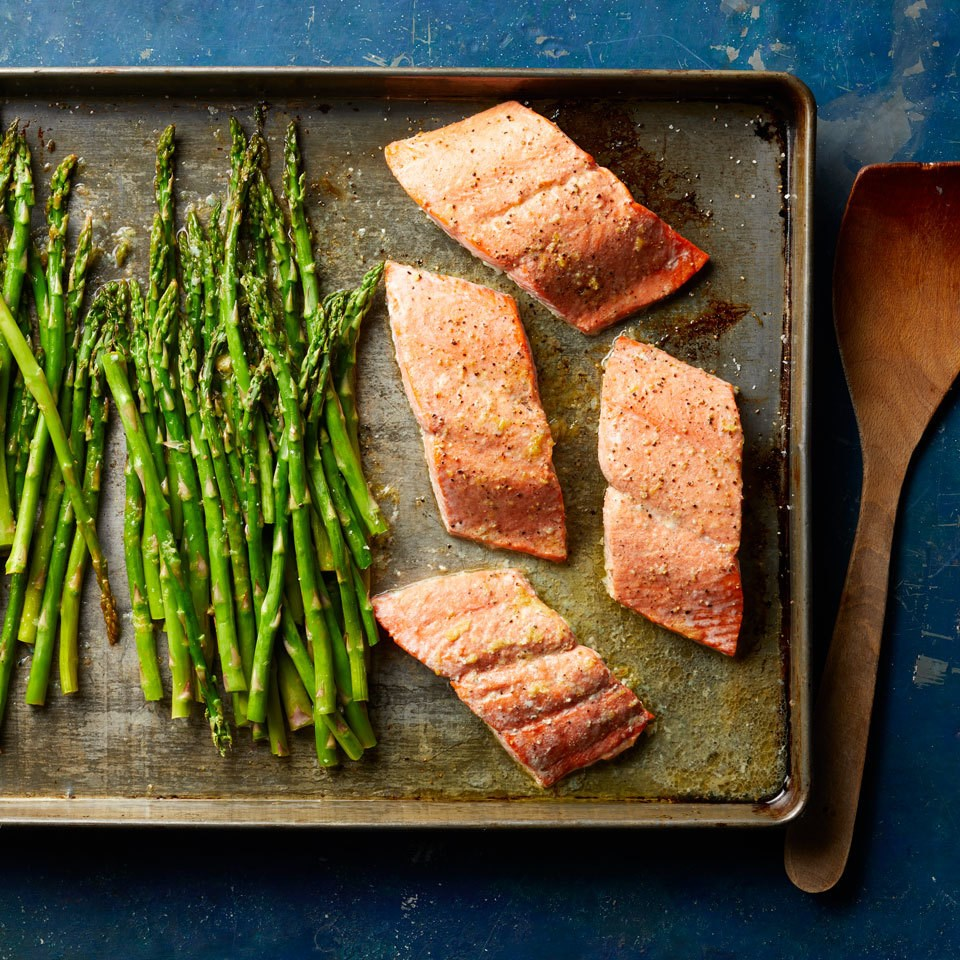 salmon and asparagus on a sheet pan