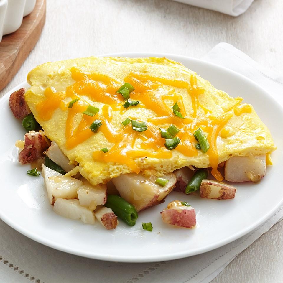 Fast Omelet-Topped Rosemary Veggies