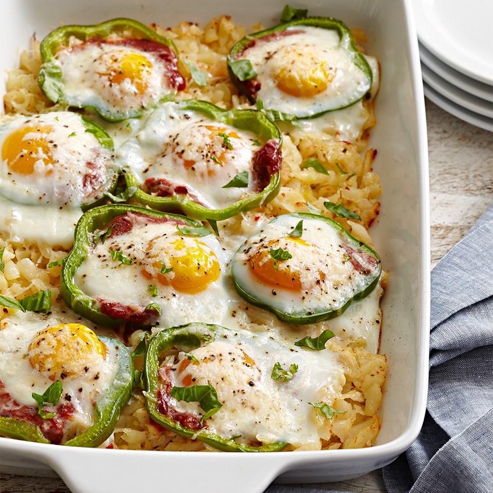 Sweet Pepper Hash Brown Baked Eggs