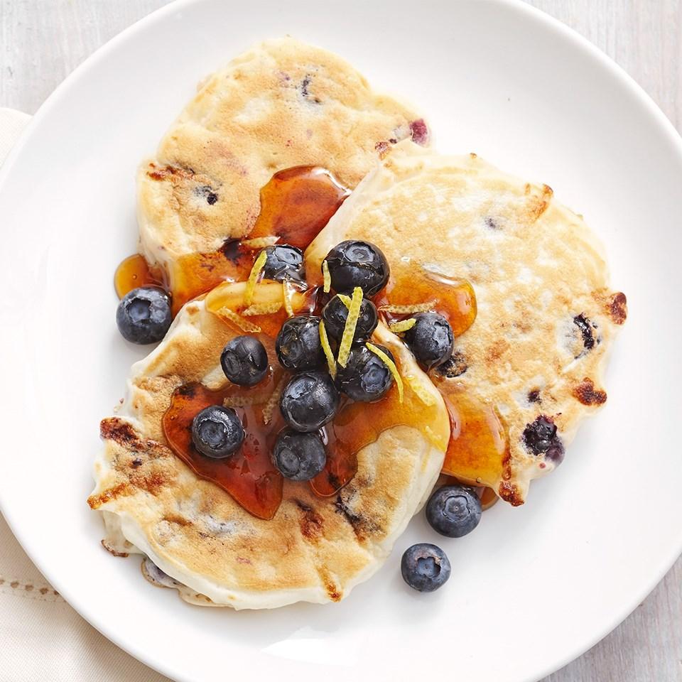 Blueberry-Lemon Cottage Cheese Silver Dollar Pancakes