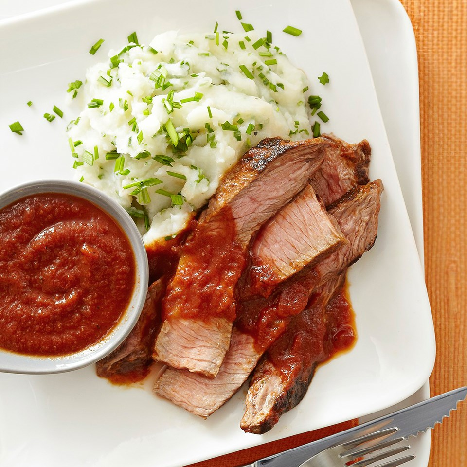 Steak with Potato-Cauliflower Mash