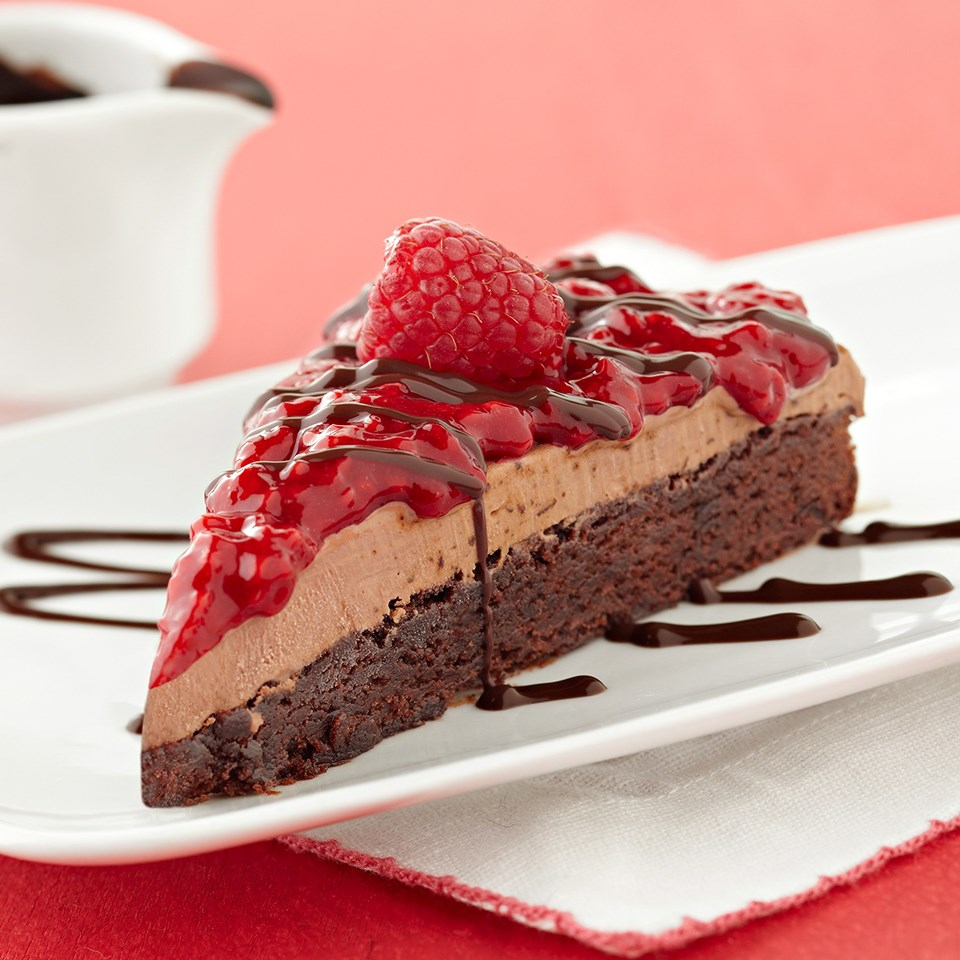 Raspberry Mocha Ice Cream Brownie Cake