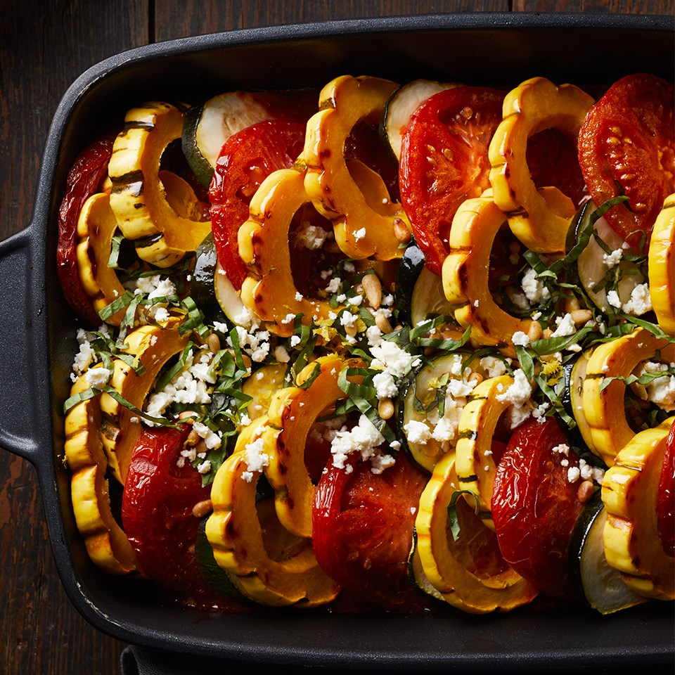 Squash-Tomato Bake with Basil and Pine Nut Gremolata