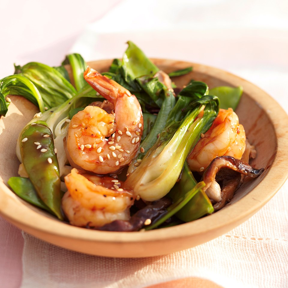 Sautéed Shiitake and Bok Choy with Shrimp