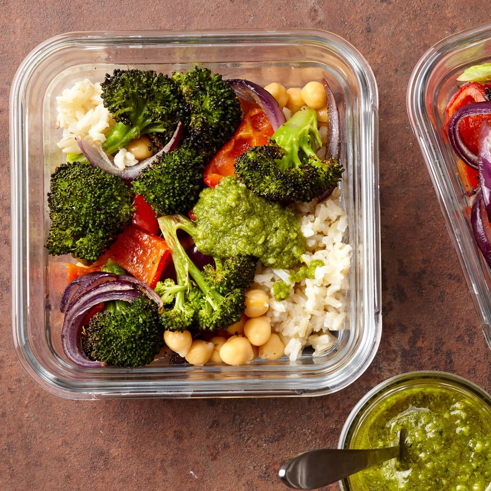 Meal-Prep Roasted Vegetable Bowls with Pesto