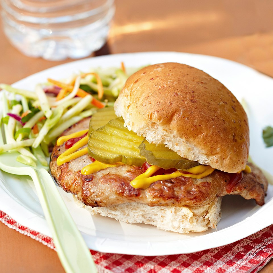Pork Tenderloin Sandwiches with Broccoli Slaw Recipe