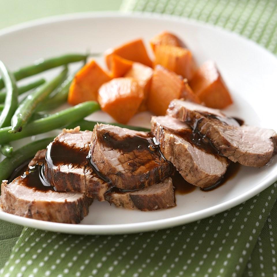 Root Beer-Marinated Pork Tenderloin with Sweet Potatoes