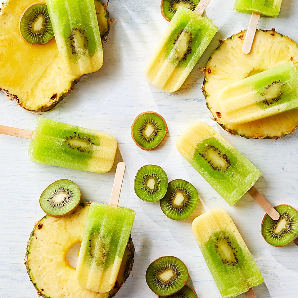 Pineapple, Kiwi, and Honeydew Ice Pops