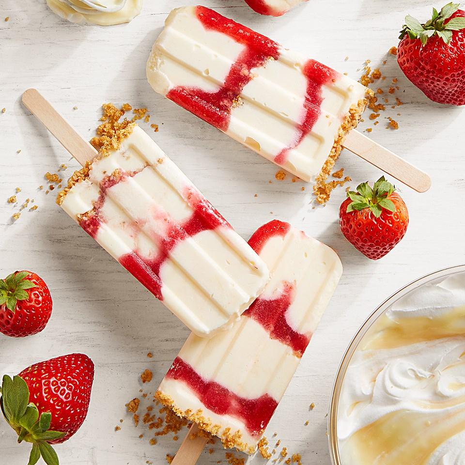 Strawberry Swirl Cheesecake Ice Pops