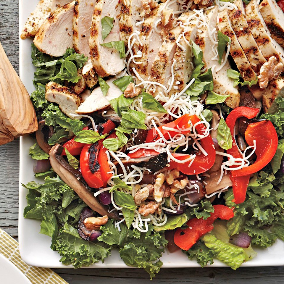 Grilled Portobello-Chicken Row Salad