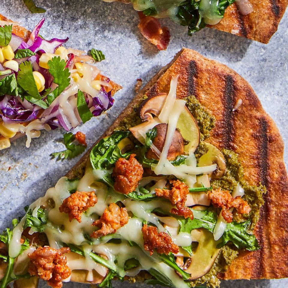 Sausage, Mushroom & Pesto Grilled Pizza