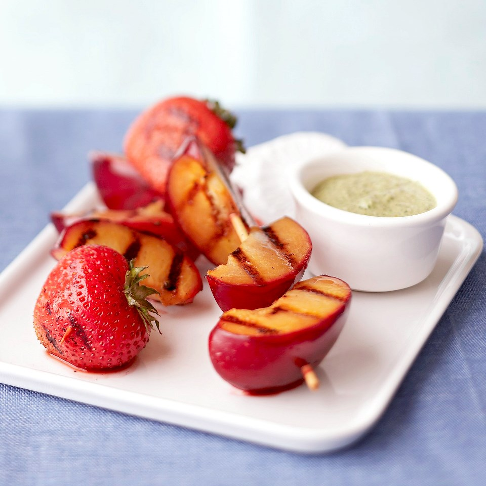 Grilled Plum & Strawberry Skewers with Sweet Mint Pesto