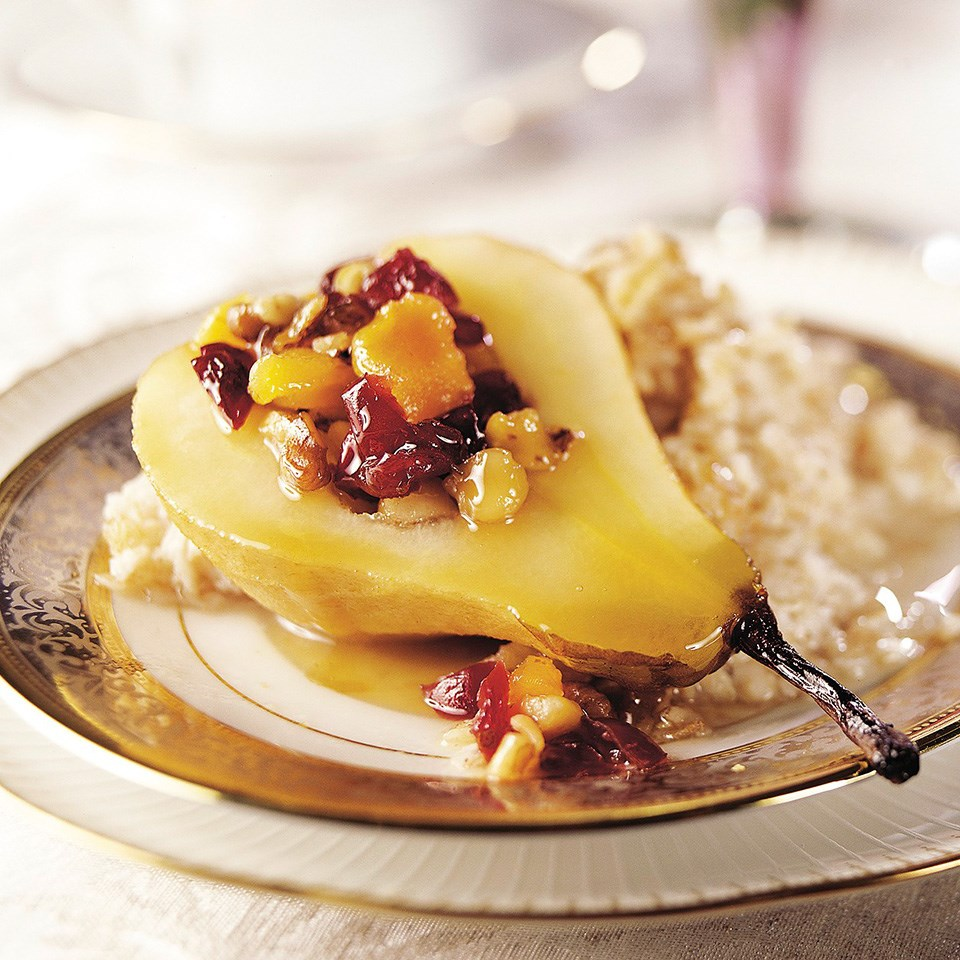 Maple-Glazed Pears and Cereal