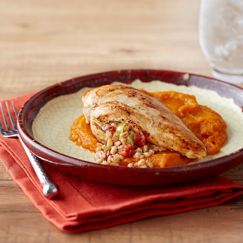 Farro-Stuffed Chicken with Sweet and Spicy Squash