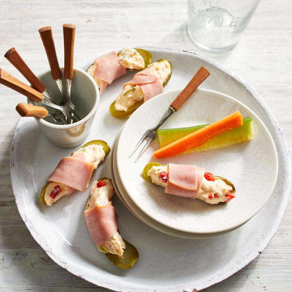 Cheesy Ham & Pickle Wraps