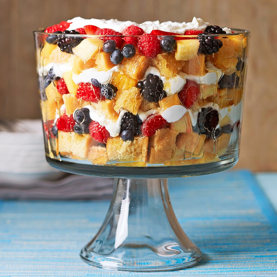 Vanilla Trifle with Champagne-Soaked Fruit