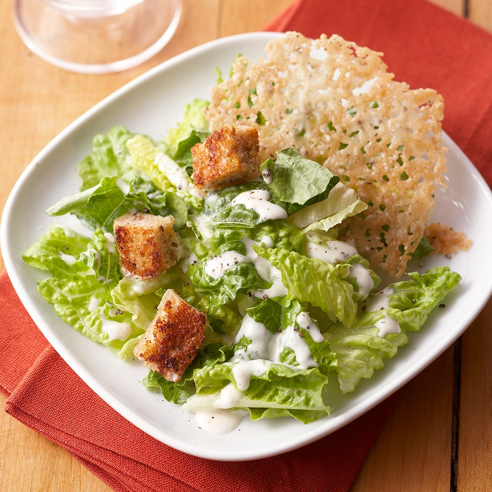 Caesar-Style Salad with Crispy Parmesan Rounds