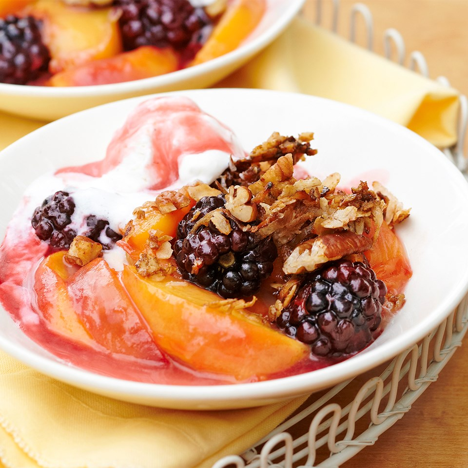 Stovetop Peach-Blackberry Crisp with Crunchy Oatmeal-Coconut Topping