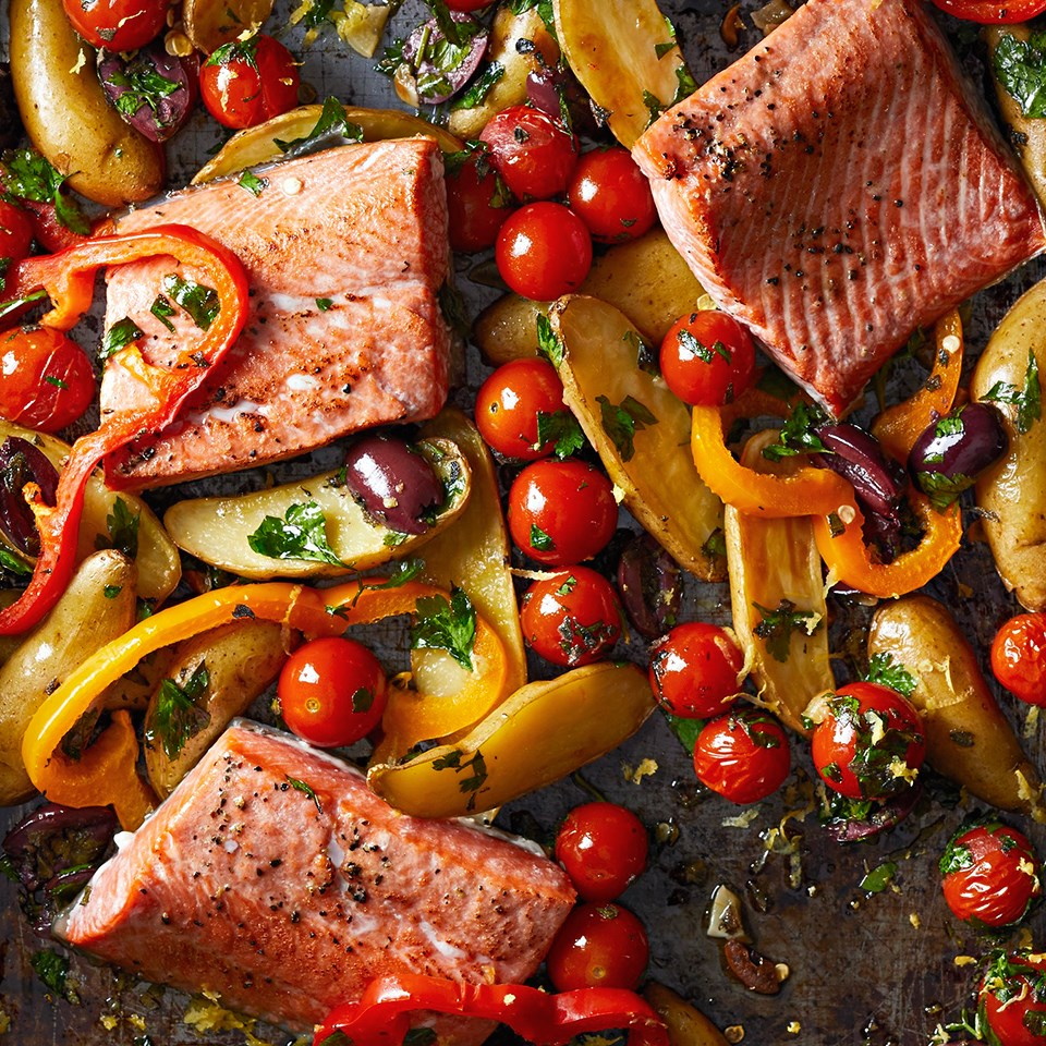 Greek-Roasted Fish with Vegetables