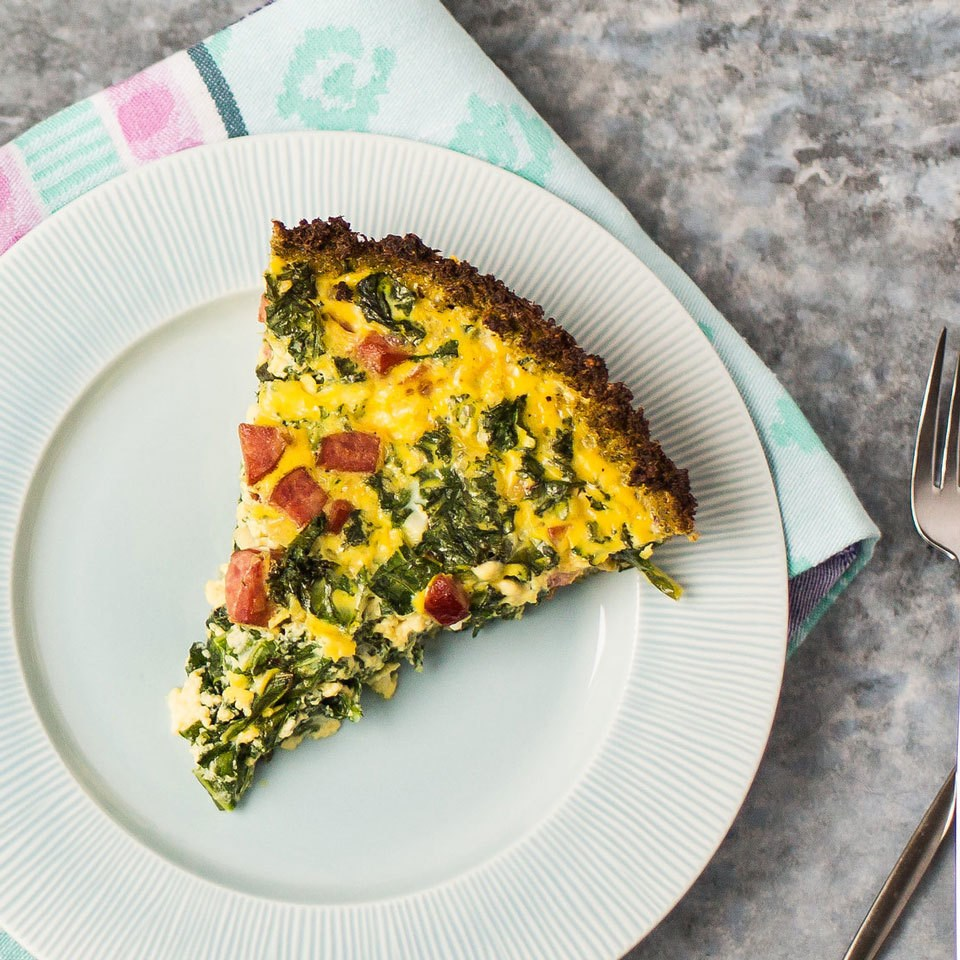 Smoked Sausage & Kale Quiche with Broccoli Crust