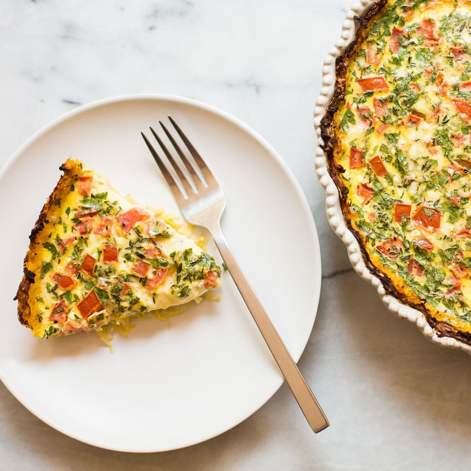 Tomato & Feta Quiche with Spaghetti Squash Crust