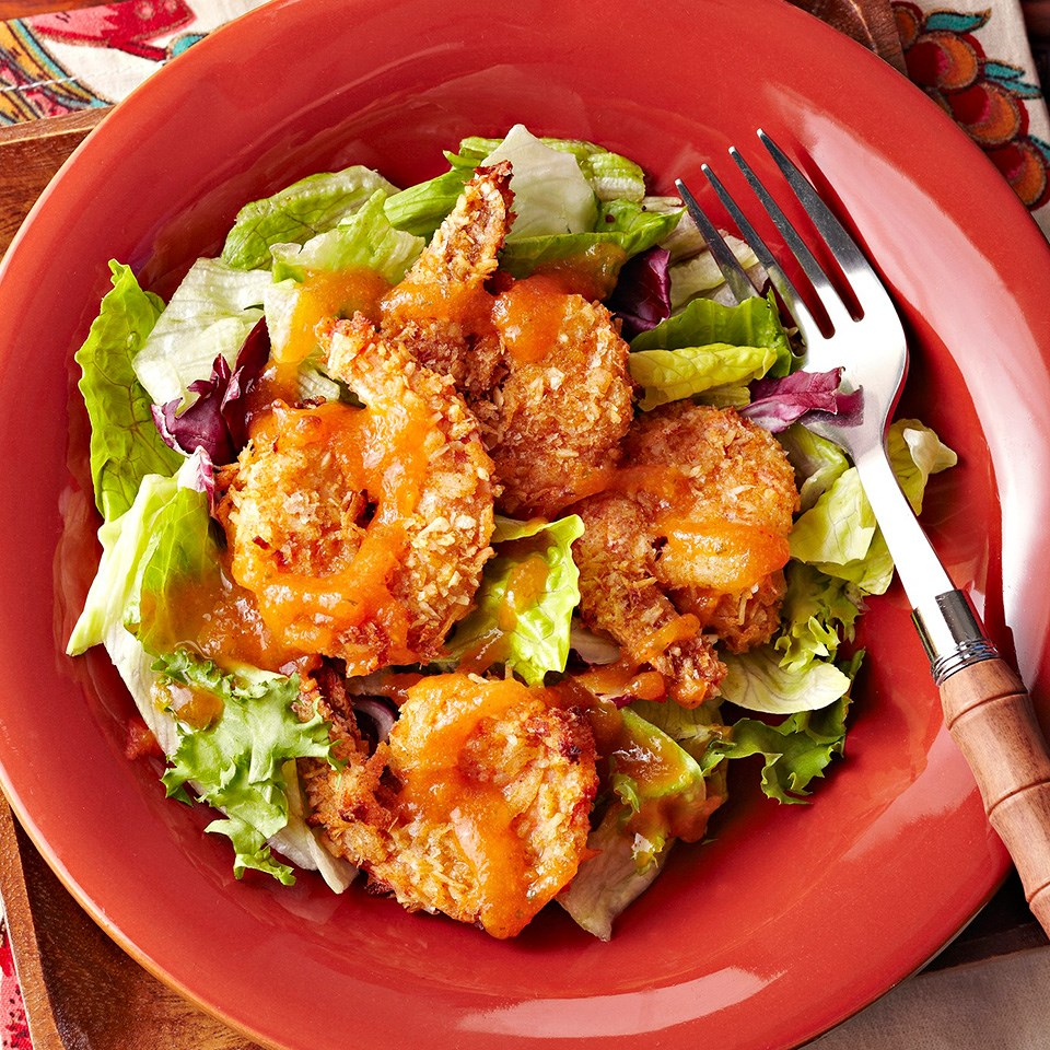 Coconut and Sweet Potato Crusted Shrimp with Honey-Papaya Dipping Sauce