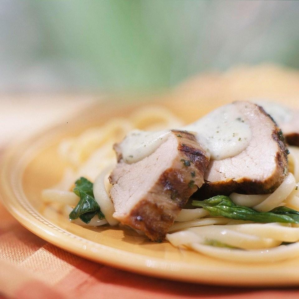 Pork Loin with Creamy Pesto Sauce