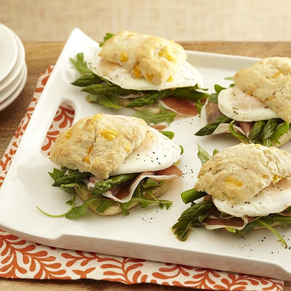 Asparagus, Prosciutto & Arugula Breakfast Sandwiches