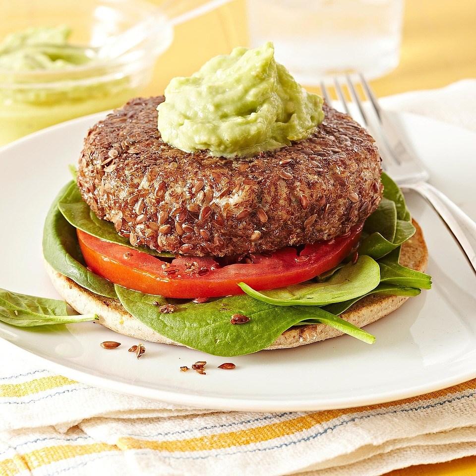 Flax-Crusted Tuna Burgers with Avocado Aioli