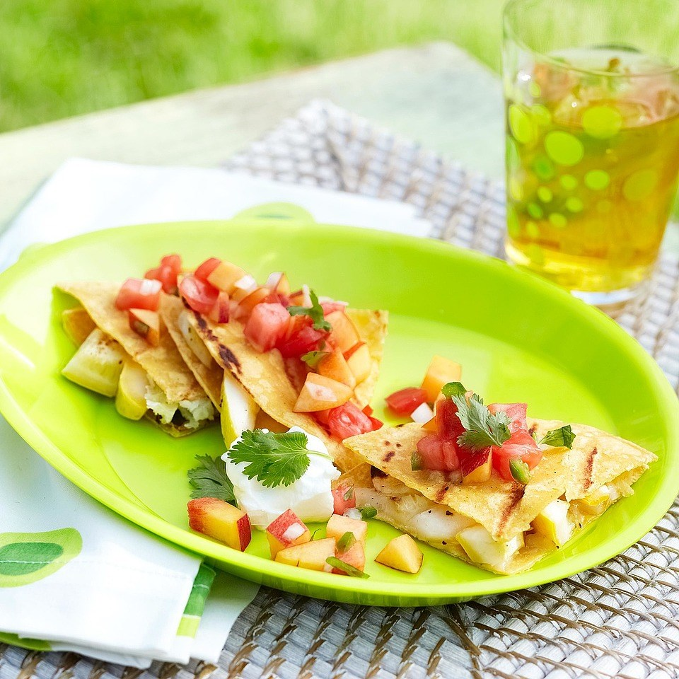 Grilled Squash & Manchego Quesadillas with Nectarine-Tomato Salsa