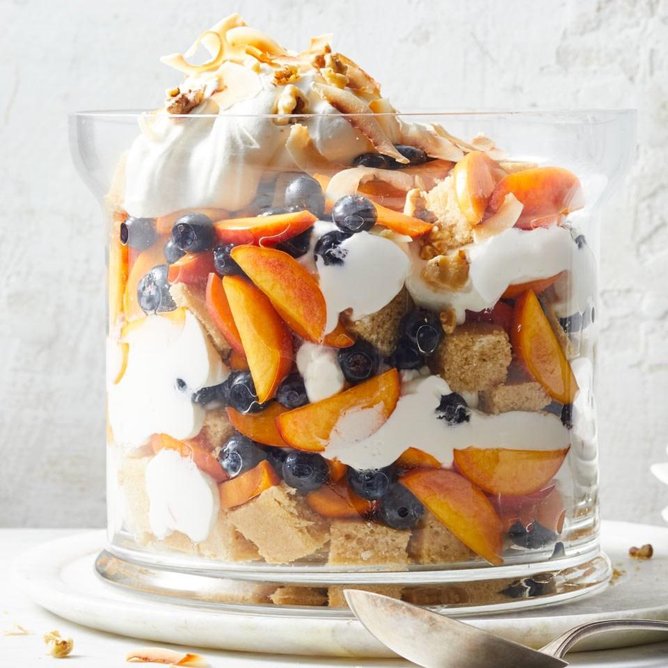 Peach-Blueberry-Coconut Trifle