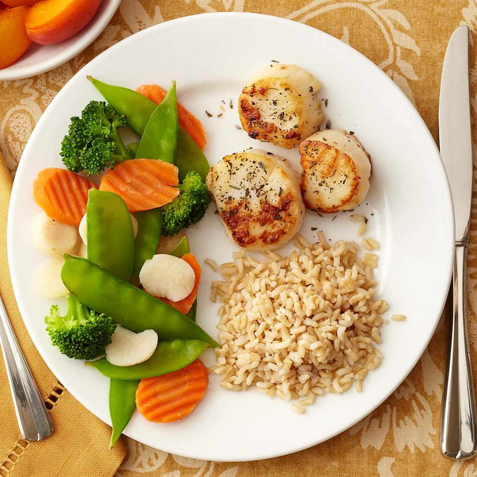 Scallops, Rice and Veggies