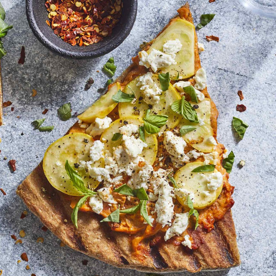Greek Summer-Squash Grilled Pizza