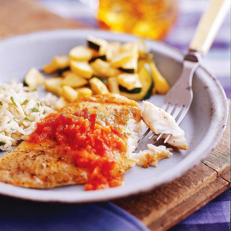 Catfish with Red Pepper Sauce
